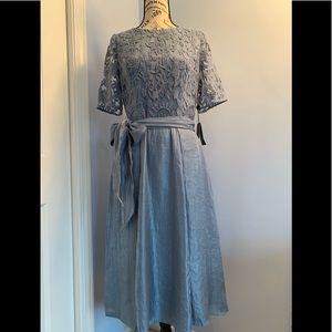 Adrianna Papell Dusty Blue Midi Dress, sz 10
